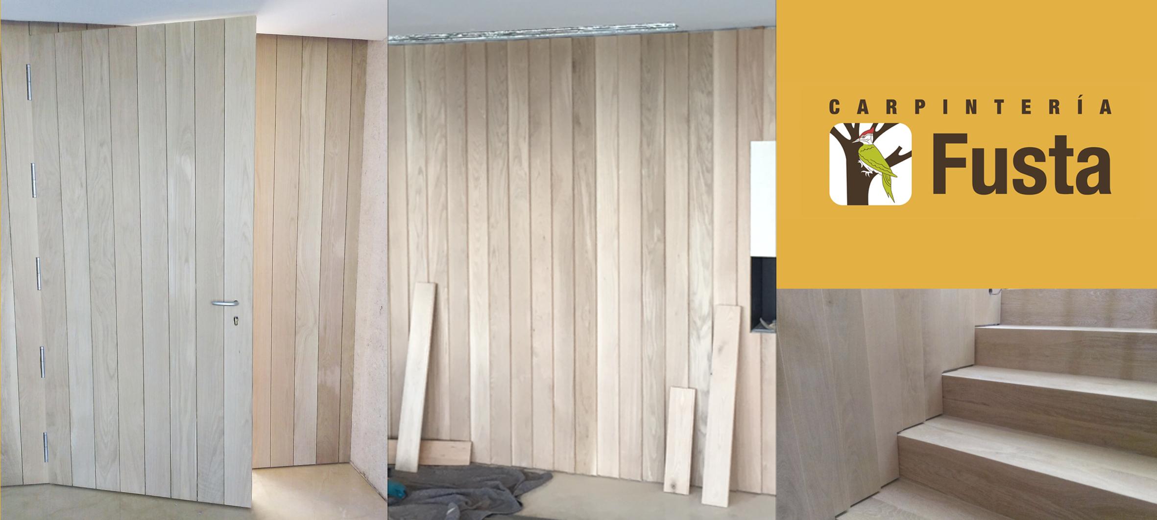 Revestimientos de paredes con paneles de madera carpinteria fusta - Paneles de madera para paredes interiores ...